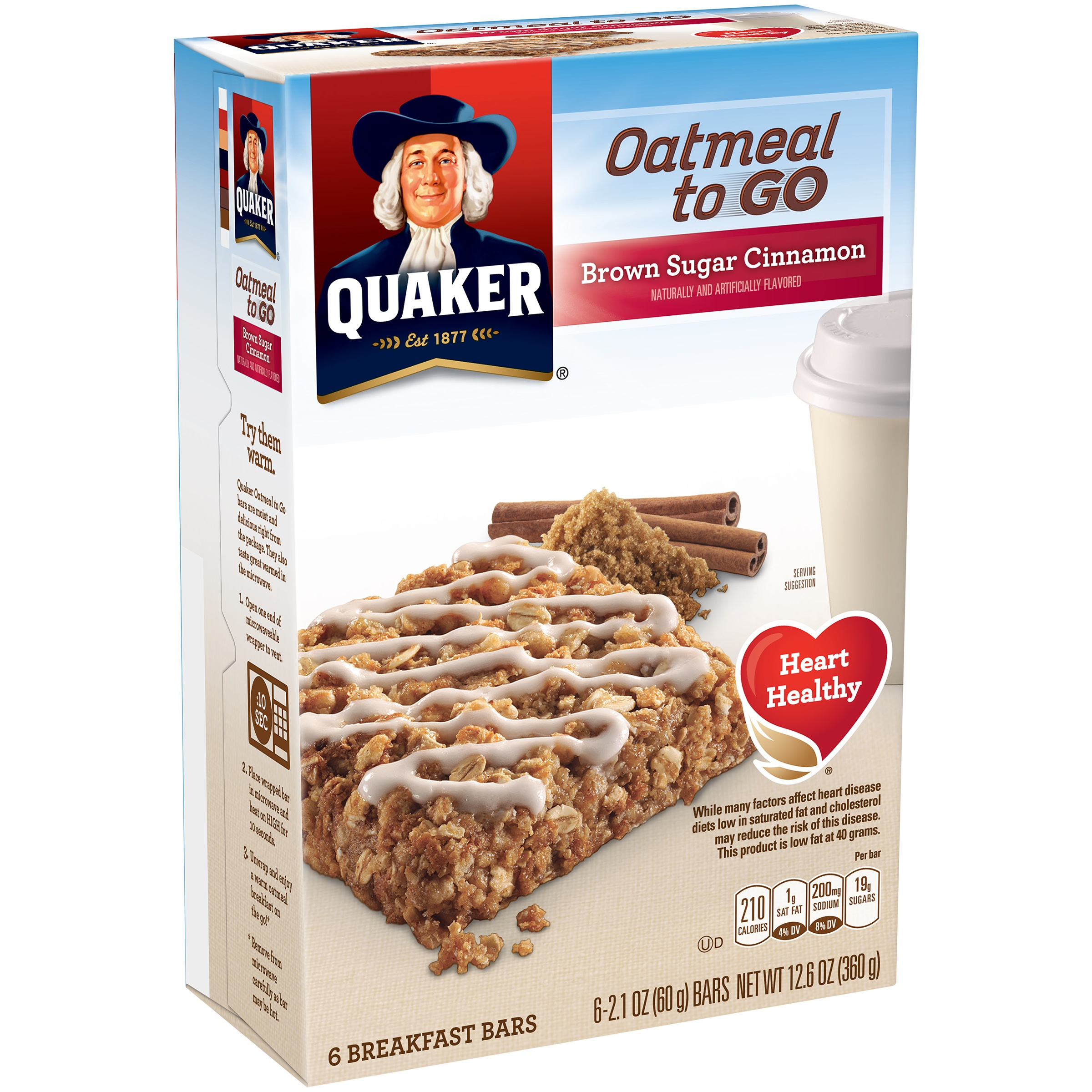 Quaker Oatmeal to Go Brown Sugar Cinnamon Breakfast Bars 6-2.1 oz. Bars