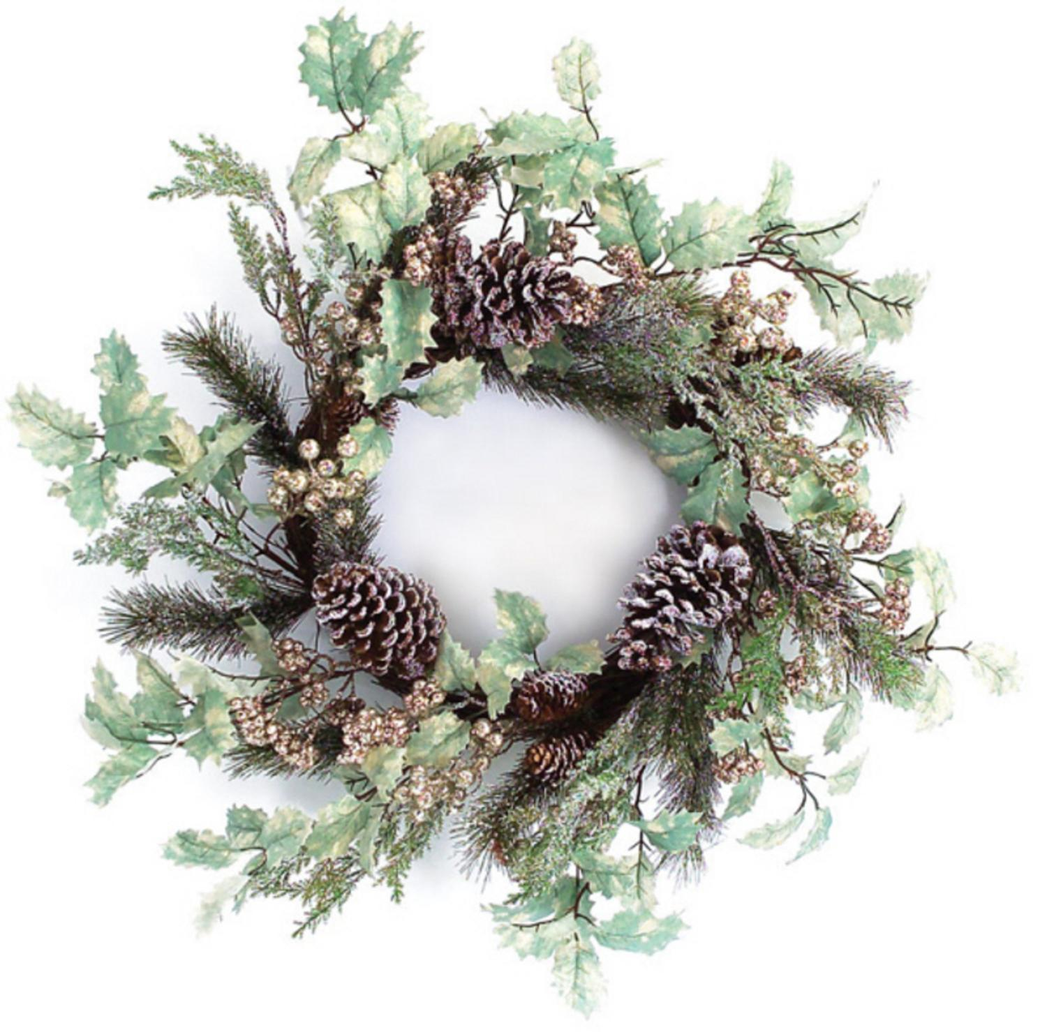 "Melrose 24"" Unlit Brown/Green Glittered Frosted Pine Cone with Holly Leaves Christmas Wreath"