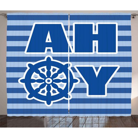 Ahoy Its a Boy Curtains 2 Panels Set, Ahoy Written with Nautical Wheel Striped Nursery Wall Art Design, Window Drapes for Living Room Bedroom, 108W X 63L Inches, Blue Pale Blue White, by Ambesonne