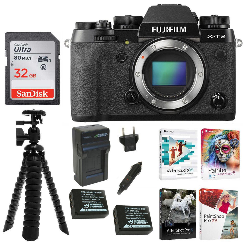 FujiFilm X-T2 Digital Camera Body (Black) w 2 Rechargeable Batteries + Corel Photo Editing Software, Tripod & Focus... by Fujifilm