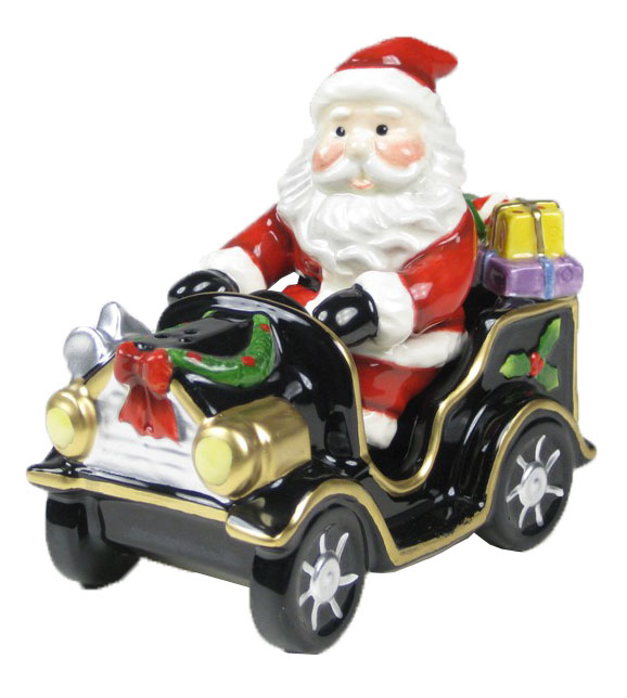 Santa Driving Classic Holiday Car Salt and Pepper Shakers