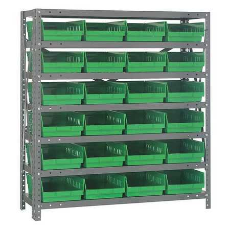 Bin Shelving,Solid,36X18,24 Bins,Green QUANTUM STORAGE SYSTEMS 1839-108GN