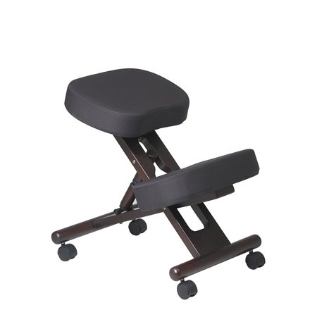 Kneeling Chair with Memory Foam Espresso Wooden Frame Black