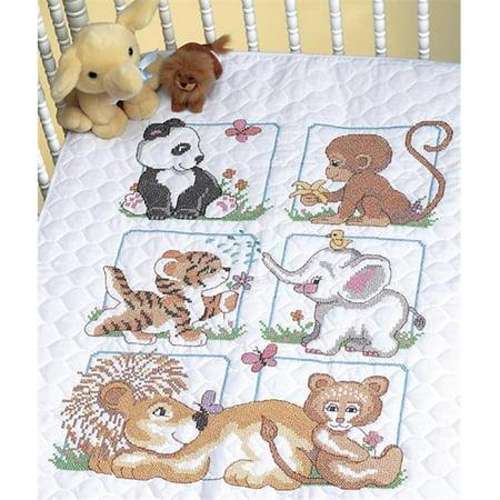 Animal Babies Quilt Stamped Cross Stitch Kit-34X43