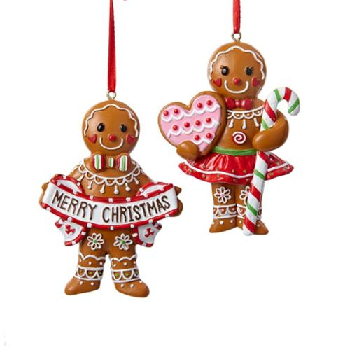 """3.5"""" Gingerbread Kisses Brown and White """"Merry Christmas"""" Cookie Boy Decorative Ornament"""