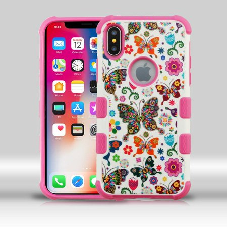 Insten Butterfly Wonderland Dual Layer Hybrid Hard Plastic/Soft TPU Rubber Case Cover For Apple iPhone X (with Tempered Glass Privacy Screen