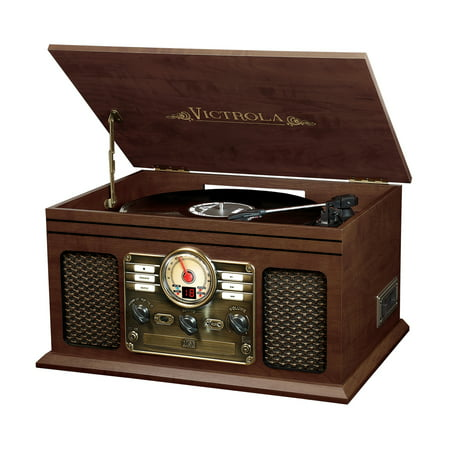 Victrola 6-in-1 Nostalgic Bluetooth Record Player with 3-speed Turntable with CD and Cassette - (Best Stereo Turntable Cassette Cds)