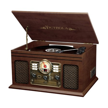 Turntable Cd Player (Victrola 6-in-1 Nostalgic Bluetooth Record Player with 3-speed Turntable with CD and Cassette - Espresso )