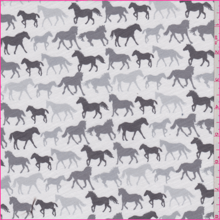 Whitegrey Horse Print Jersey Knit Fabric Sold By The Yard