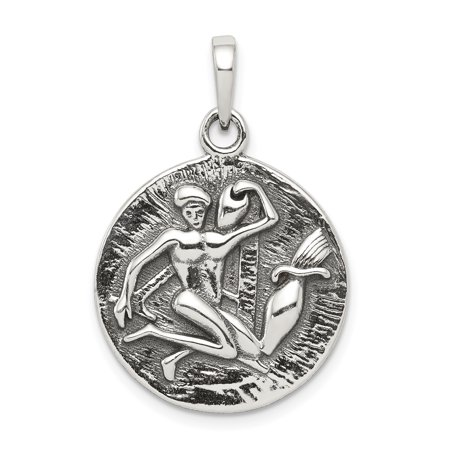 925 Sterling Silver Antique Finish Aquarius Horoscope Pendant Charm Necklace Zodiac Gifts For Women For