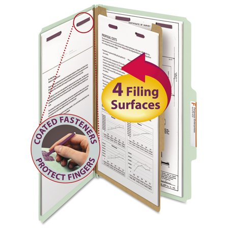 Smead Pressboard Classification Folders, Legal, Four-Section, Gray/Green, 10/Box -SMD18776