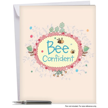 J6548egdg Large Graduation Card  Let It Bee Featuring A Sweet Bumblebee Combined With A Floral Frame And A Cute Bee Saying  Greeting Card With Envelope By The Best Card Company