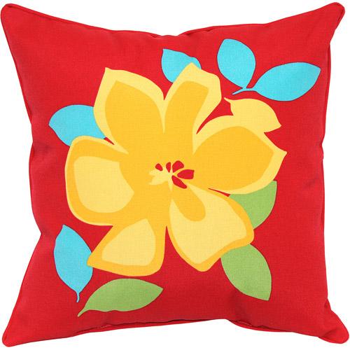 Mainstays Jumbo Cord Outdoor Toss Pillow, Yellow Flower