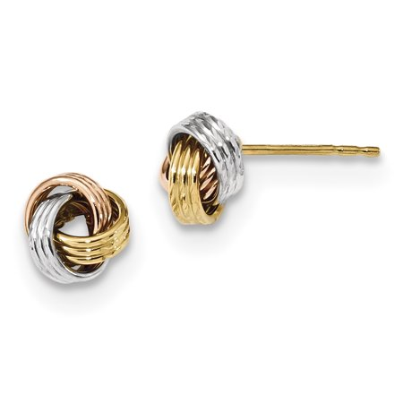 14K Tri Color Gold Tri-Color Polished Love Knot Post Earrings - image 2 de 2