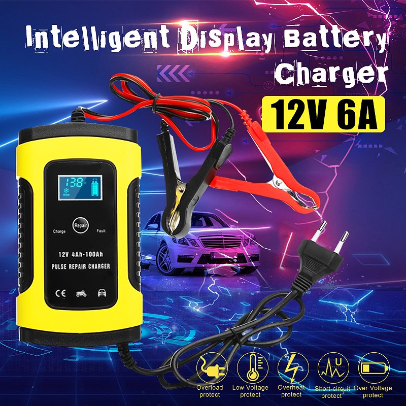 12V 6A Charger For Motorcycle Car AGM GEL Wet Lead Acid Battery LCD Pulse  Repair