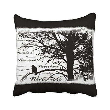 WinHome Halloween Black White Never More Raven Silhouette Throw Pillow Covers Cushion Cover Case 18x18 Inches Pillowcases Two Side (Halloween Raven Silhouettes)