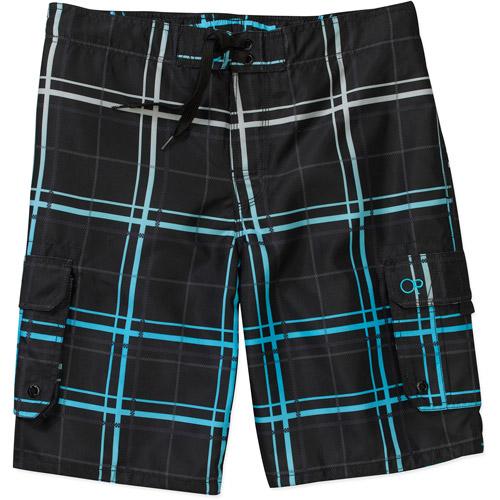 Op Men's Gradient Plaid E Board Shorts