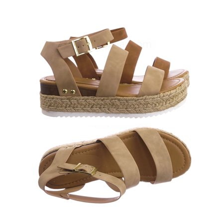 Bryce by Soda, Retro Espadrile Flatform Sandal - Women Quarter Strap Rustic (Womens Quarter Strap Sandal)