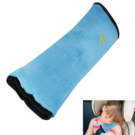 Kids Auto Seat Belt Pillow, Baby Car Seat Belt Covers, Plush Soft Travel Adjust Vehicle Shoulder Pad, Car Safety Belt Strap Protector Cushion, Headrest Neck Support For(Blue) Car Seat Belt Cover Pad