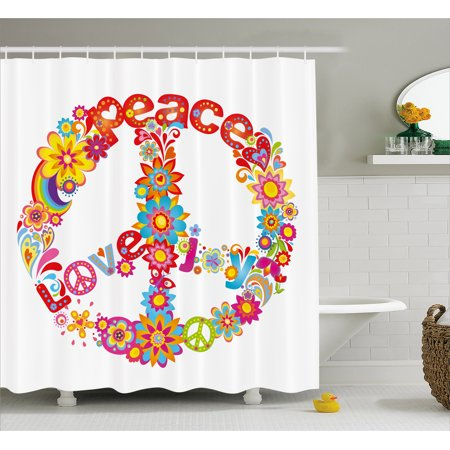 70s Party Decorations Shower Curtain, Peace Sign Colorful Flowers Rainbows Love and Joy Festive Composition, Fabric Bathroom Set with Hooks, 69W X 70L Inches, Multicolor, by Ambesonne for $<!---->
