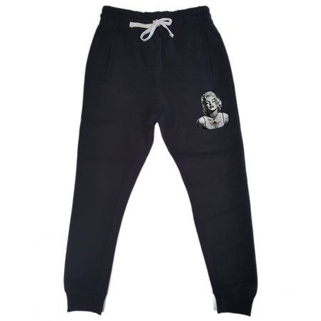 Men's Marilyn Monroe Face Tattoo KT T127 Black Fleece Gym Jogger Sweatpants Medium Black