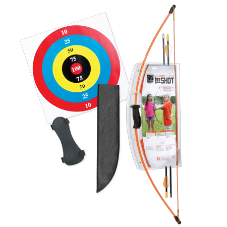 Youth Longbow (Bear Archery 1st Shot Youth Bow Set Includes Arrows, Armguard, and Arrow Quiver Recommended for Ages 4 to 7 – Flo Orange )