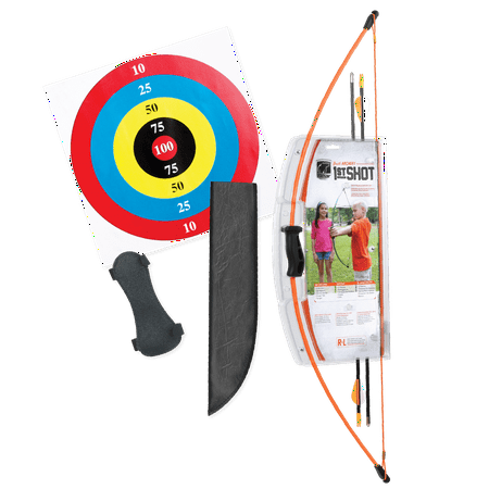 Bear Archery 1st Shot Youth Bow Set Includes Arrows, Armguard, and Arrow Quiver Recommended for Ages 4 to 7 – Flo Orange](Hawkeye Bow And Arrow For Kids)