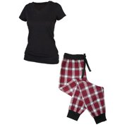 Women's Flannel Jogger Pants and Short Sleeve Tee Shirt Set
