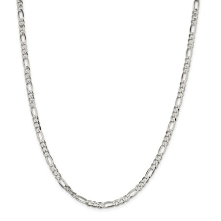Roy Rose Jewelry Sterling Silver 4.5mm Polished Flat Figaro Chain 24