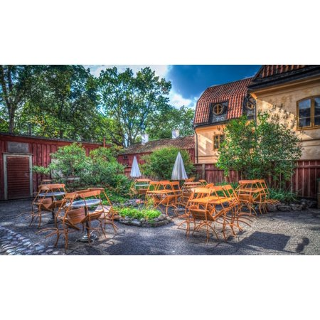 Canvas Print Skansen Sweden Dining Outdoors Caf?? Restaurant Stretched Canvas 10 x 14