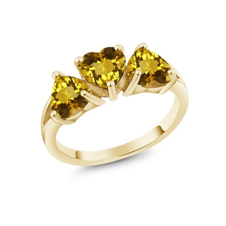 1.92 Ct Heart Shape Yellow Citrine 18K Yellow Gold Plated Silver Ring