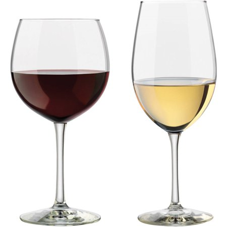 Libbey Vineyard Assorted Clear Wine Glasses, Set of (Modern Clear Glass)