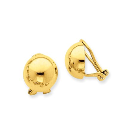14kt Yellow Gold Non Pierced Clip On Half Ball Omega Back Button Stud Earrings Fine Jewelry Ideal Gifts For Women Gift Set From Heart 14k Yellow Gold Pierced Earrings