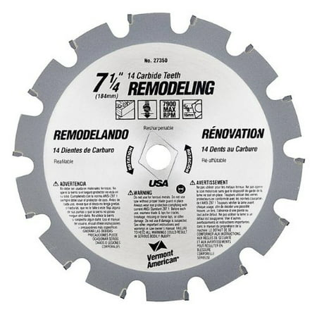 27350 7-1/4-Inch 14T Remodeling Carbide Circular Saw Blade, King carbide blades provide the best in precision, durability and performance By Vermont