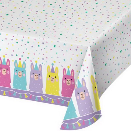 Creative Converting 339587 Llama Party Plastic Tablecover All Over Print, 54