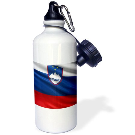 3dRose Flag of Slovenia waving in the wind, Sports Water Bottle, 21oz
