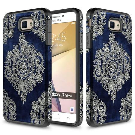 Galaxy J7 V Case, Galaxy Halo / J7 Prime / J7 Perx / J7 Sky Pro Case, TownShop Indigo Dreams Design Hard Impact Dual Layer Shockproof Bumper Case For Samsung Galaxy J7 (2017) (Indigo Accessories)
