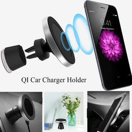 2in1 10W Qi Wireless Fast Charger Car Air Vent/Dashboard Charging Mount Holder Mount For QI Smart Mobile Phone - image 5 de 10