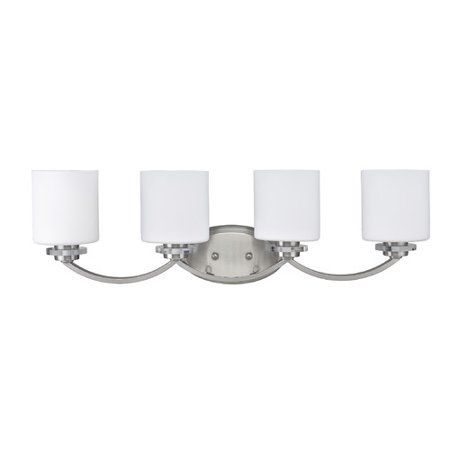 CHLOE Lighting PRUDENCE Transitional 4 Light Brushed Nickel Bath Vanity Wall Fixture White Etched Glass 31
