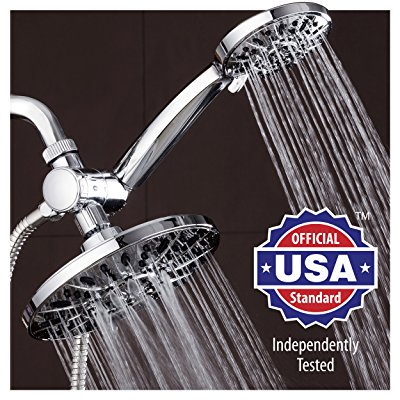 AquaDance 7 Premium High Pressure 3-way Rainfall Shower Combo Combines the Best of Both Worlds - Enjoy Luxurious 6-Setting Rain Showerhead and 6-setting Hand Held Shower Separately or