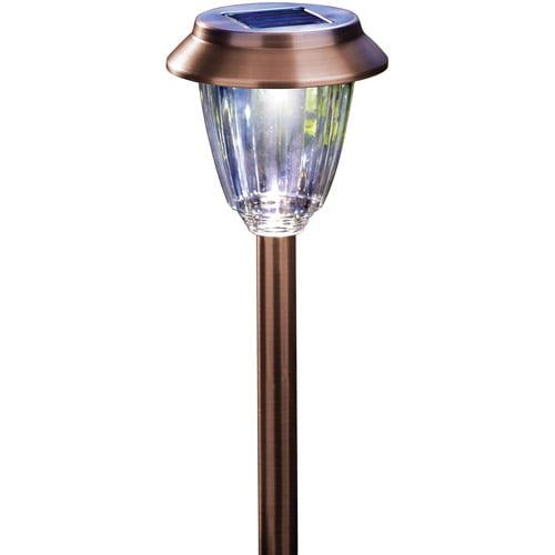 Moonrays 91743 Hudson-Style Solar Powered Metal LED Path Light, 6-Pack, Pearl Bronze Finish