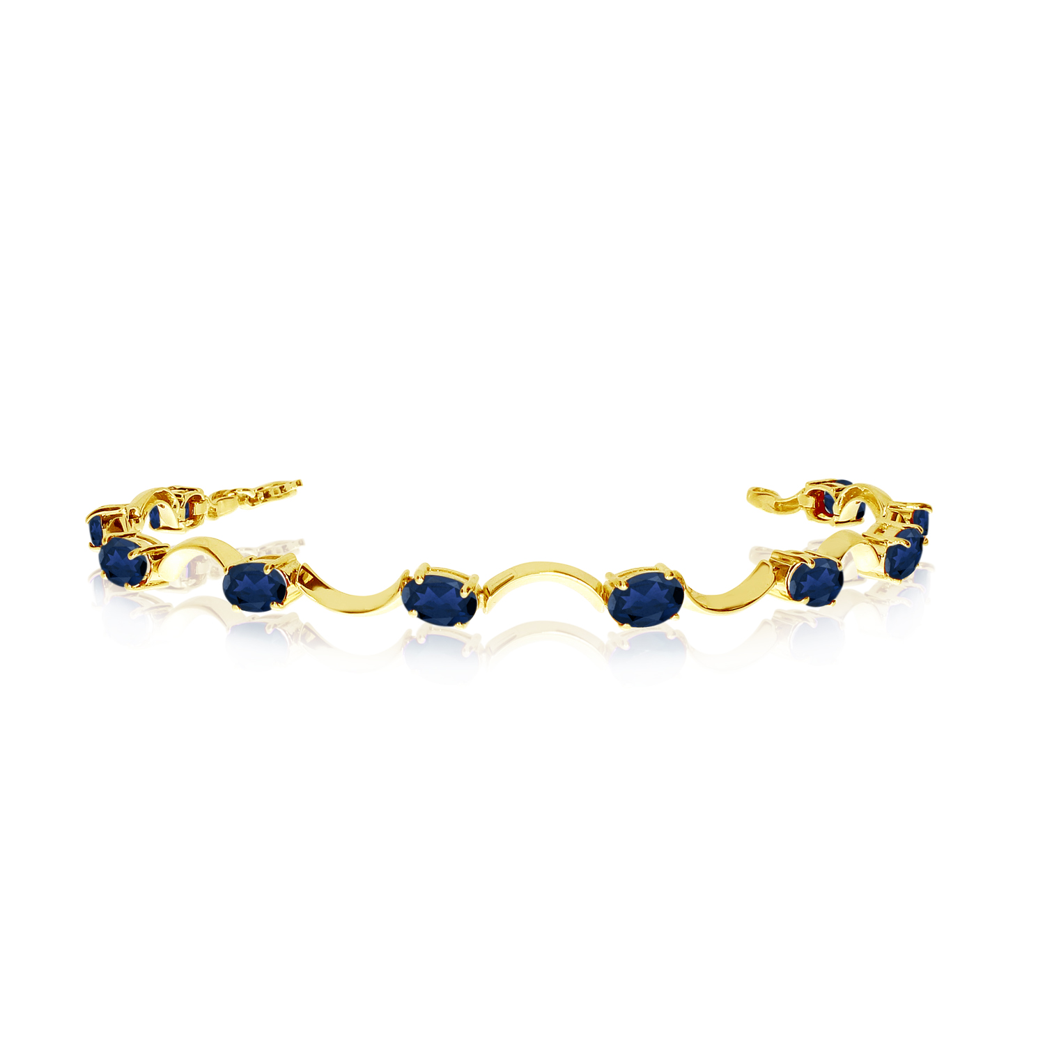 14K Yellow Gold Oval Sapphire Curved Bar Bracelet by