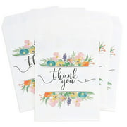 100-Pack Floral Thank You Paper Party Favor Treat Bags For Cookies, Candy Buffet, 5 X 7.5 Inches