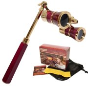 HQRP Opera Glasses / Binoculars w/ Crystal Clear Optic 3 x 25 in Burgundy Color with Golden Trim, Built-In Extendable Handle and Red Reading Light