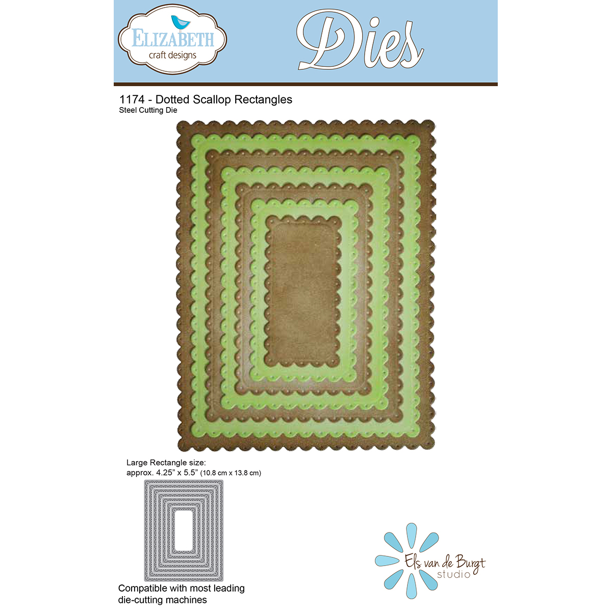 Elizabeth Craft Metal Die Dotted Scallop Rectangles 4 25 X5 5