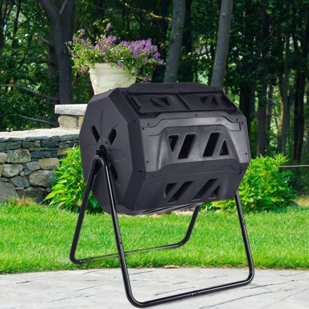 Costway Compost Tumbler 43-Gallon Garden Waste Bin Grass Food Trash Barrel (Bosmere 58 Gallon Country Wood Compost Bin)
