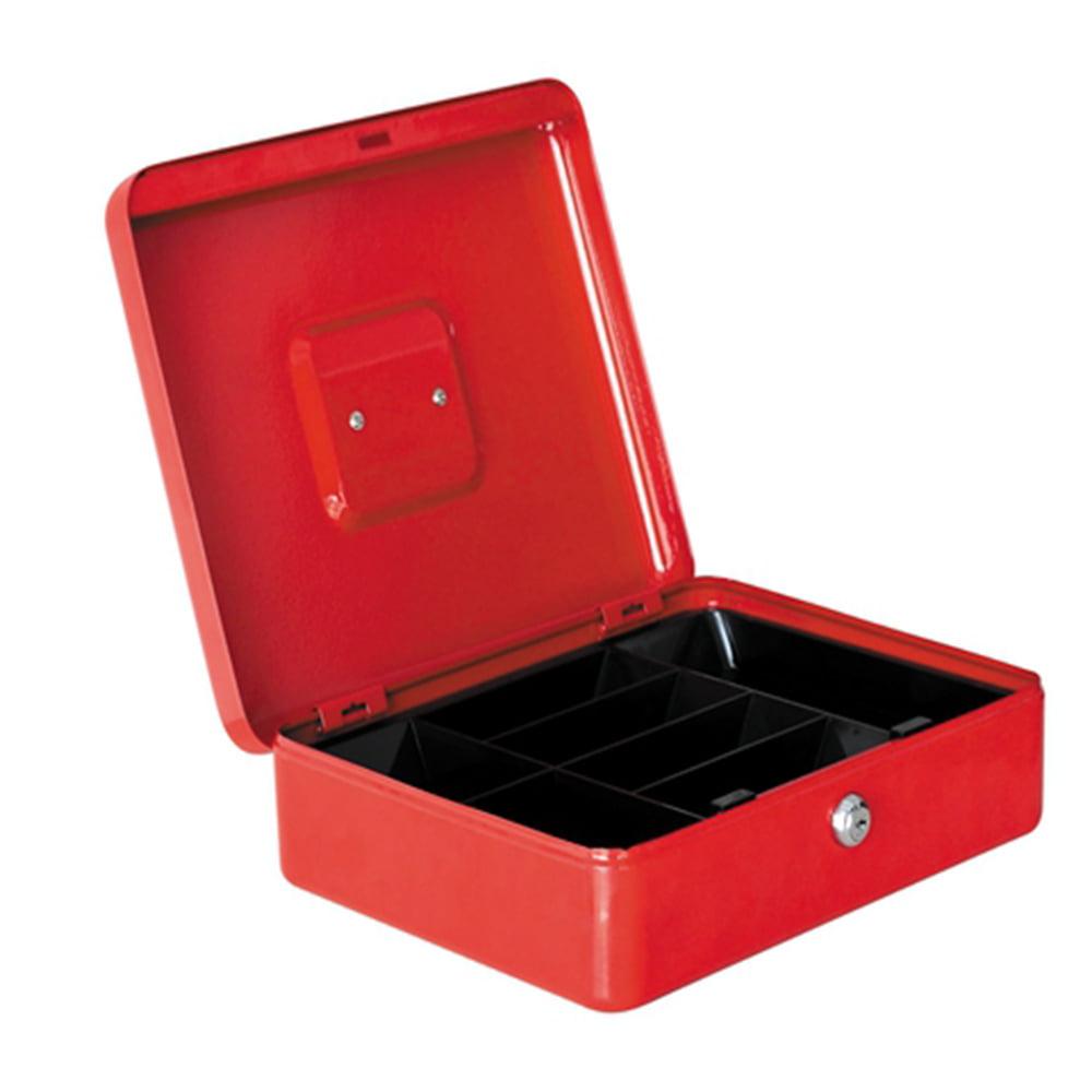 UBesGoo Stainless Steel Metal Petty Cash Box Lock Bank Deposit Safe Key Security Tray