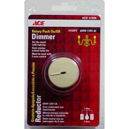 Ace 31868 Ivory Three-Way Preset Rotary Dimmer Light