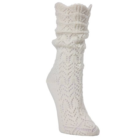 MeMoi Shakar Scalloped Crochet Knit Boot Sock - Cute Winter Socks by MeMoi One Size 9-11 / Ivory MF7 - Crochet Boot Socks