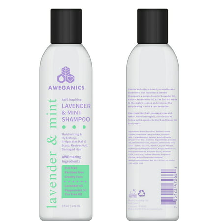 Aweganics Lavender Mint Hair Shampoo - AWE Inspiring Natural Aromatherapy Invigorating Purple Shampoos - Hydrating, Cleansing, Moisturizing - Paraben-Free, Cruelty-Free, Peppermint, Tea Tree…
